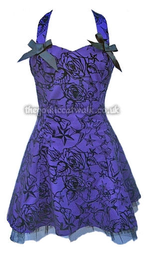 Sexy Purple Halter Neck Gothic Mini Dress