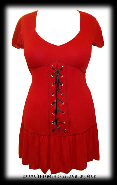 Plus Size Red Gothic Tunic Top with Corset Lacing
