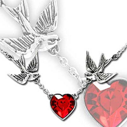 Swallow Heart Necklace with Red Crystal by Alchemy UL17
