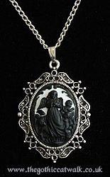 Gothic Victorian Cameo Necklace - Guardian Angel Silhouette