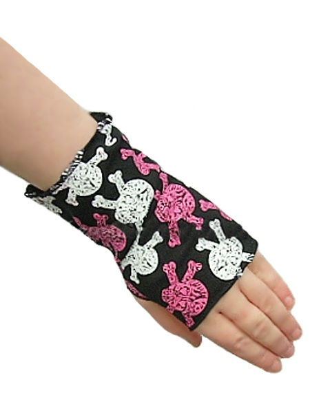 Fingerless Gothic Punk Skull Gloves - Pink & White