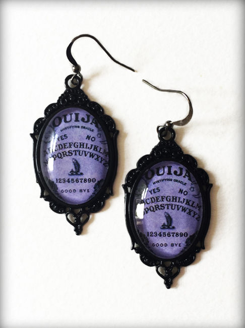Purple Ouija Board Gothic Earrings