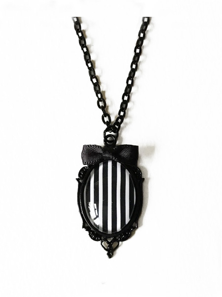 Black and White Striped Gothic Victorian Necklace