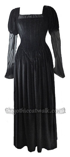 Long Black Velvet Gothic Medieval Dress with Train