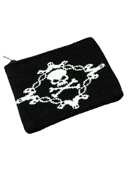 Black Gothic Punk Purse with White Skull