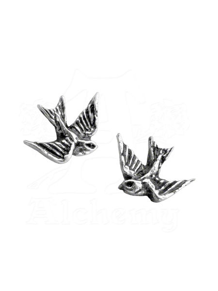Miniature Swallows Rockabilly Stud Earrings by Alchemy