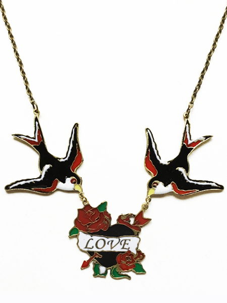 Enamelled Swallows Love Necklace - Tattoo