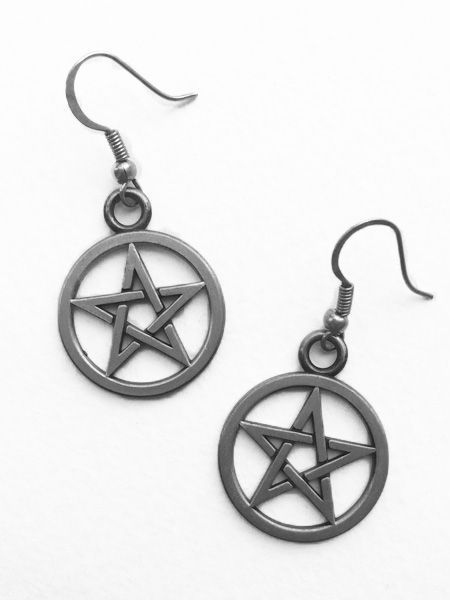 Gothic Witch Pentagram Earrings