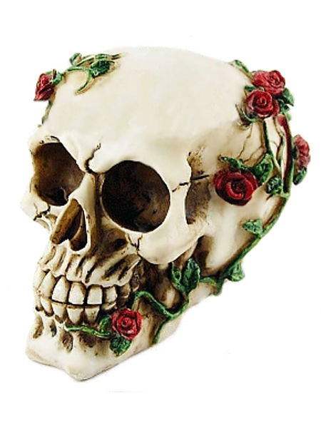 Gothic Skull Ornament with Red Roses