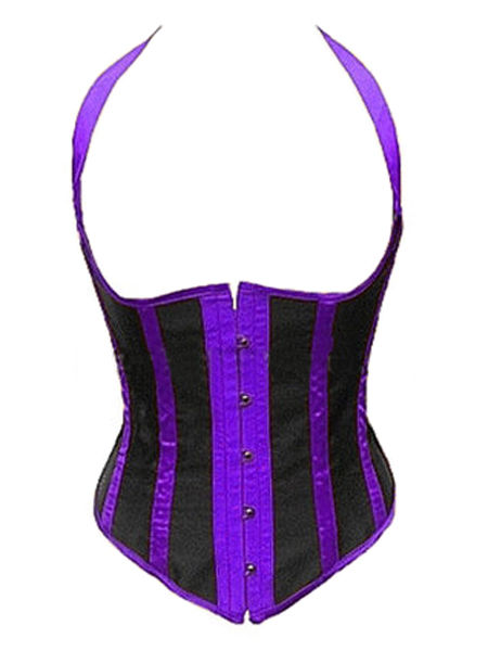 Black & Purple Striped Satin Burlesque Underbust Corset