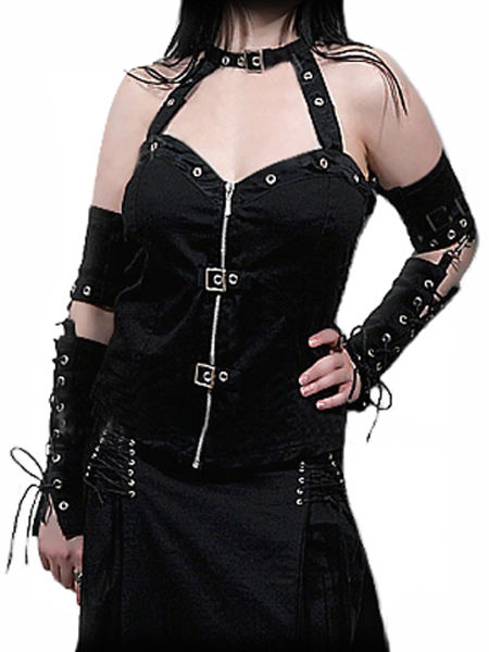 Black Gothic Punk Bondage Corset with Gloves