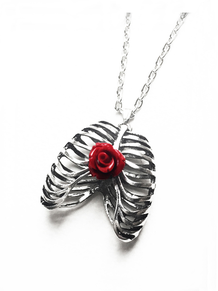 Anatomical Rib Cage Gothic Necklace with Red Rose