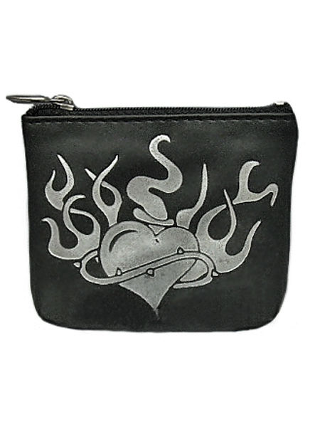 Gothic Coin Purse - Black with Silver Foil Heart