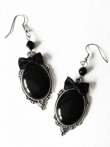 Gothic Victorian Black Bow Cabochon Earrings