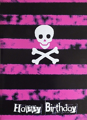 Gothic Punk Birthday Card - Pink Stripes with Skull