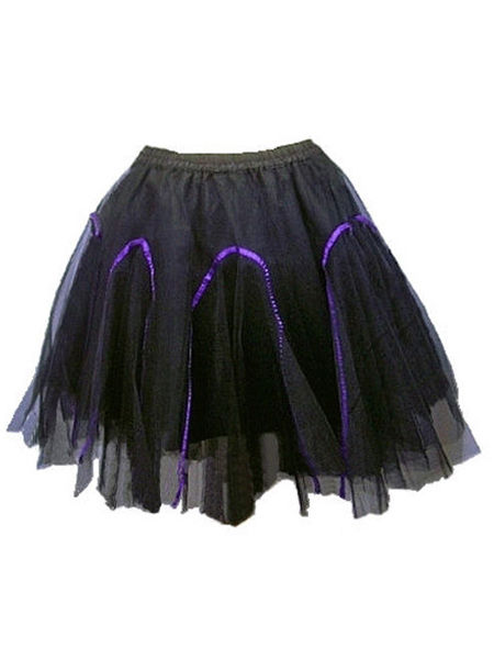 Black Net Gothic Tutu Skirt - Purple Ribbon