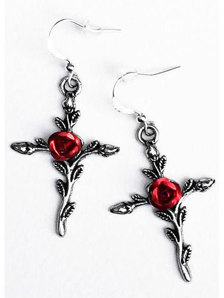 Silver Cross Gothic Victorian Earrings with Red Roses