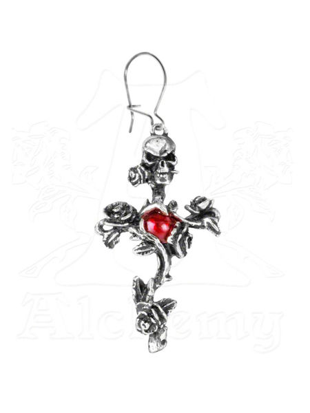Rose Thorn Cross Earring by Alchemy Gothic