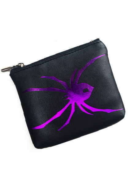 Gothic Coin Purse with Purple Spider
