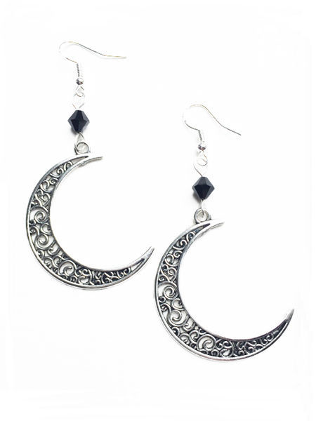 Silver Crescent Moon Filigree Earrings