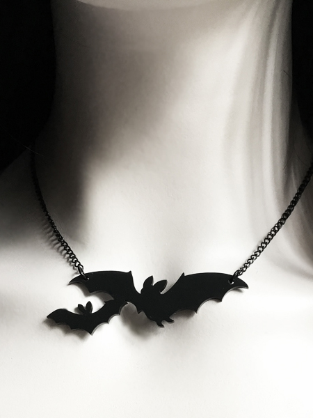 Gothic Bat Acrylic Necklace, Mother and Baby Bat
