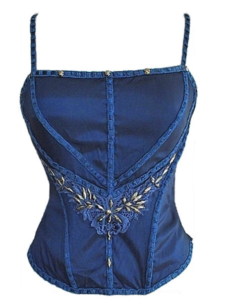 Royal Blue Silk Corset