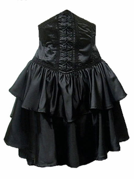 Black Satin Underbust Gothic Corset Skirt Women S Gothic