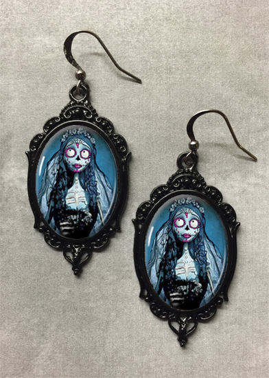 Glass Cameo Gothic Earrings - Emily The Corpse Bride