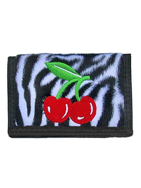Rockabilly Punk Zebra Skin Wallet Purse - Cherries
