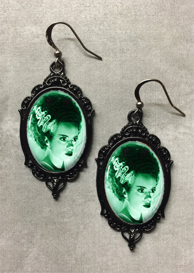 Glass Cameo Gothic Earrings - Bride of Frankenstein