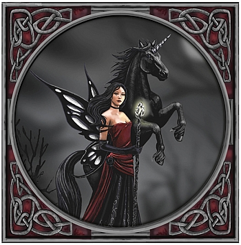 Gothic Fairy with Unicorn Greetings Card