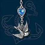 Swallow Necklace with Blue Crystal Heart by Alchemy UL17