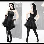 Punk Rave Black Net Strapless Dress with Crown & Choker
