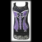 Black Gothic Punk Top with Purple Corset Print