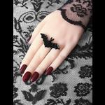 Adjustable Black Bat Gothic Ring, Halloween Jewellery