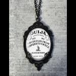 Large Gothic Glass Cameo Necklace - Black & White Ouija Board