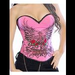 Pin Up Rock Tattoo Design Corset - Pink