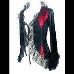 Black & Red Satin Gothic Jacket with Cobweb Lace
