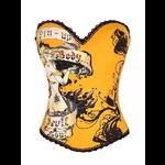 Pin Up Rock Tattoo Design Corset - Yellow