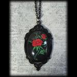 Large Gothic Glass Cameo Necklace - Red Tattoo Rose