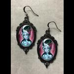 Glass Cameo Gothic Earrings - Zombie Bride