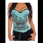 Pin Up Rock Tattoo Design Corset - Blue