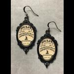 Glass Cameo Gothic Earrings - Antiqued Ouija Board