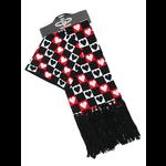Gothic Punk Scarf and Beanie Hat Set - Checkered Hearts