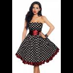 Black & White Polka Dot Retro Party Dress - Red Sash