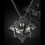 Gothic Pewter Raven's Skull Necklace
