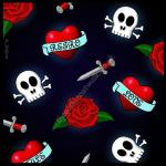 Retro Love Greetings Card - Skulls & Roses