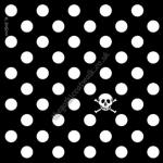 Gothic Punk Greetings Card - Black & White Polka Dot & Skull