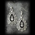 Silver Spider and Cobweb Gothic Earrings