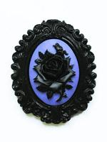 Black and Purple Rose Cameo Brooch